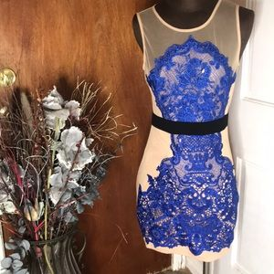Dresses & Skirts - Chic Nude Dress with blue ands black designs